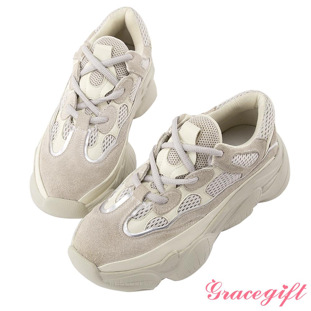 Grace gift-異材質拼接厚底休閒鞋 米