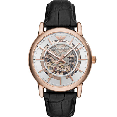 Emporio  Armani 鏤空機械腕錶(AR60007)玫瑰金色/43mm