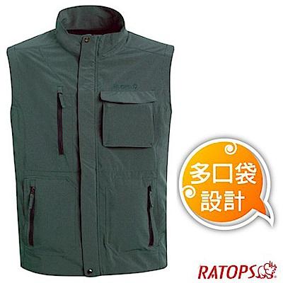 瑞多仕 男款 輕量休閒多口袋背心(拉鍊袋款)_DA2380 軍綠麻灰色