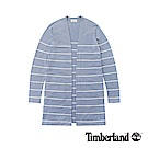 Timberland 女款淡藍色透氣條紋針織長款針織衫|B2701