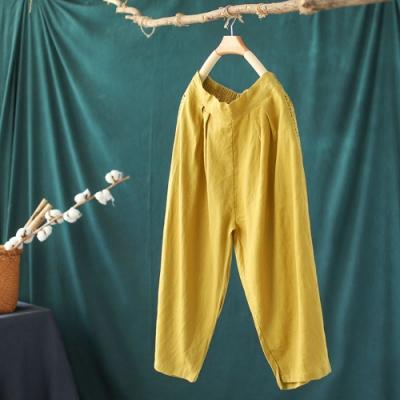 復古亞麻寬鬆顯瘦蘿蔔褲薄七分哈倫褲子多色-設計所在