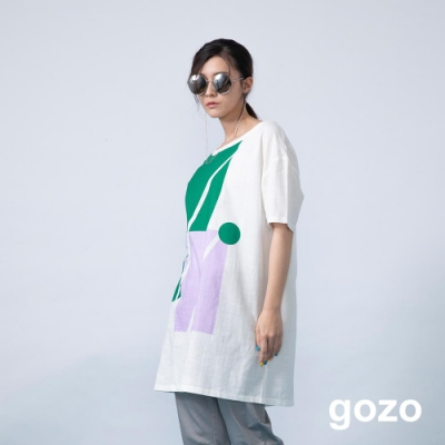 gozo 日系幾何色塊造型長洋裝(二色)