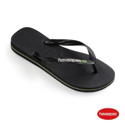 Havaianas 哈瓦仕 拖鞋 夾腳拖 人字拖 巴西國旗 巴西 男鞋 女鞋 黑 4110850-1069U Brasil Logo