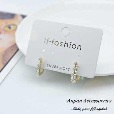 【ANPAN愛扮】韓東大門J女郎珍珠水鑽925銀耳針式耳環
