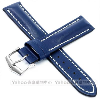 海奕施 HIRSCH Heavy Calf L 運動感百米防水 抗刮小牛皮錶帶-藍