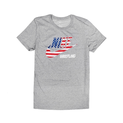 Nike T恤 Wrestling Tee 美國國旗 女款 運動休閒 吸濕排汗 DRI-FIT 圓領 灰 紅 561423091WRUS
