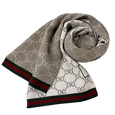 GUCCI  紅綠織帶雙G LOGO 雙長版羔羊毛圍巾-棕灰.米白