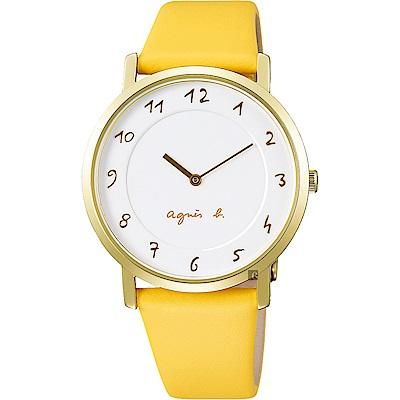 agnes b. 30週年限定紀念手錶(BJ5016X1)-金框x黃/33.8mm