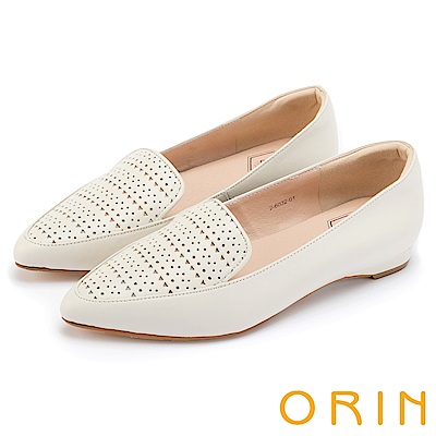 ORIN 微甜女孩 幾何沖孔牛皮樂福平底鞋-白色