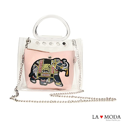 La Moda 大象繡花小巧透明手提鍊條子母包(粉)