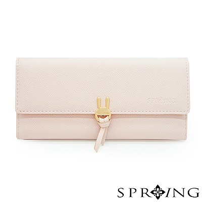 SPRING-萌萌兔兔翻蓋式長夾-粉萌萌