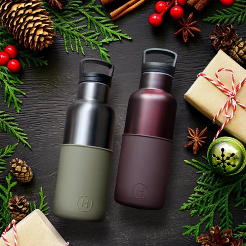 美國HYDY CinCin Déco雙杯保溫瓶組480ML-櫻桃紅勃根地紅瓶+軍綠鈦灰瓶