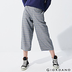 GIORDANO 女裝英倫風格紋寬褲-03 黑/白/藍格紋