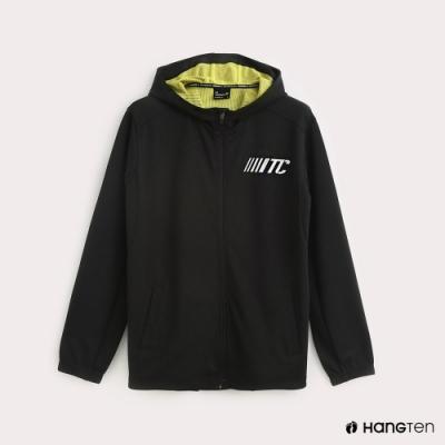 Hang Ten-ThermoContro-男裝機能連帽撞色外套-黑
