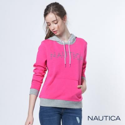 Nautica女裝連帽口袋長袖TEE-粉紅
