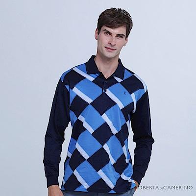 ROBERTA諾貝達 台灣製 潮流型男 撞色菱格純棉長袖POLO衫  藍