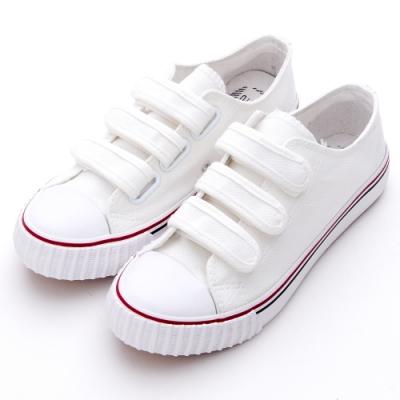 River-Moon餅乾鞋-韓版三帶魔鬼氈帆布休閒鞋 白
