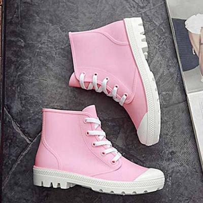 韓國KW美鞋館-街頭時尚防水輕量仿帆布長筒雨鞋 粉
