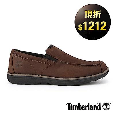 Timberland 男款深咖啡絨面防滑皮革方頭便鞋