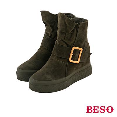 BESO 率性造型 全真皮垂墜式厚底短靴~綠