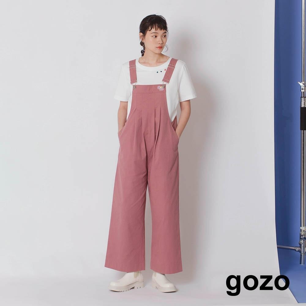 gozo-抓褶繡花吊帶褲(兩色)