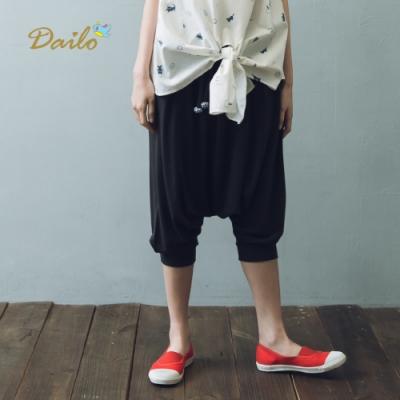【Dailo】青蛙呱呱棉質休閒七分褲(一色)