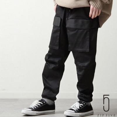 ZIP日本男裝 大口袋鬆緊束口褲工裝褲  (3色)