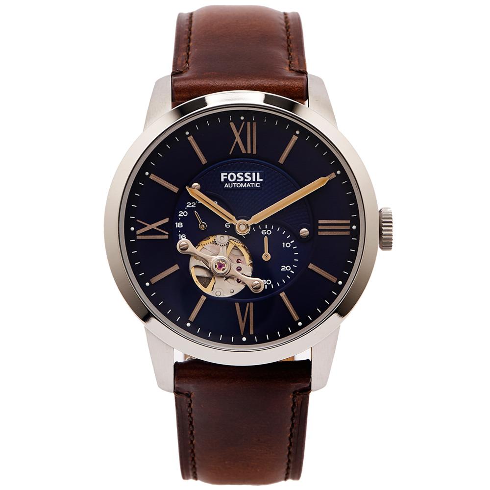 FOSSIL 簍空設計款機械手錶(ME3110)-藍色面x咖啡色/44mm