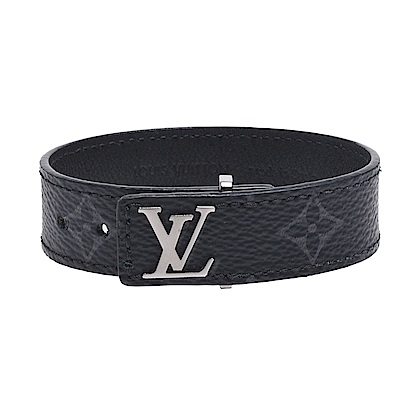 LV M6456E Slim Monogram Eclipse帆布銀色字母鉤釦手環-石墨色