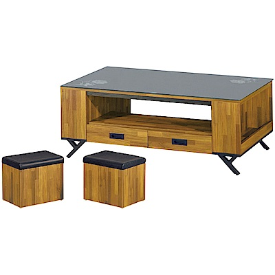 綠活居 馬多卡4.3尺玻璃茶几(二色+附贈椅凳二張)-130x70x46cm免組