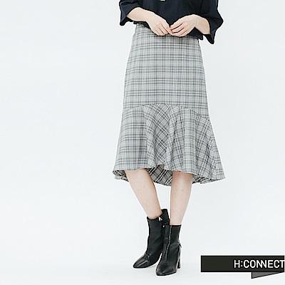 H:CONNECT 韓國品牌 女裝-格紋魚尾中長裙-黑
