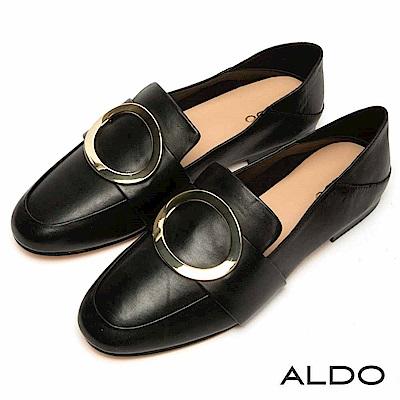 ALDO 原色真皮鏤空圓環金屬釦帶粗跟樂福鞋~尊爵黑色