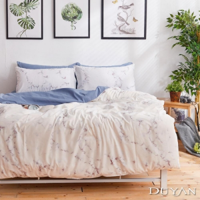 DUYAN竹漾 MIT 天絲絨-單人床包枕套兩件組-蔚藍大理石