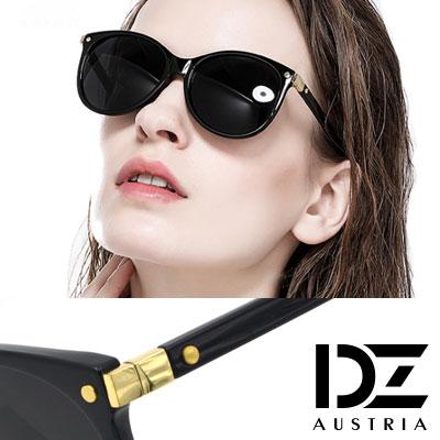 DZ 個性方塊金釘 防曬太陽眼鏡造型墨鏡(黑框灰片)