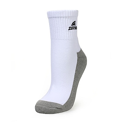 【ZEPRO】女子竹炭運動短襪-白灰