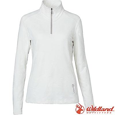 Wildland 荒野 0A62605-81米白色 女彈性雙色緹花保暖上衣