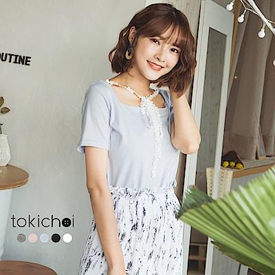東京著衣 多色繞頸蕾絲方型領上衣-S.M.L(共五色)