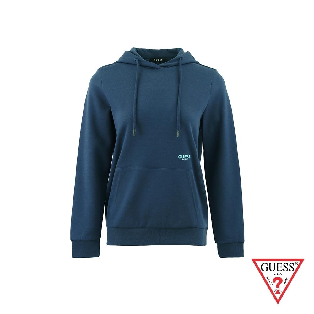 GUESS-女裝-純色後背文字印圖長袖帽T-藍 原價3990