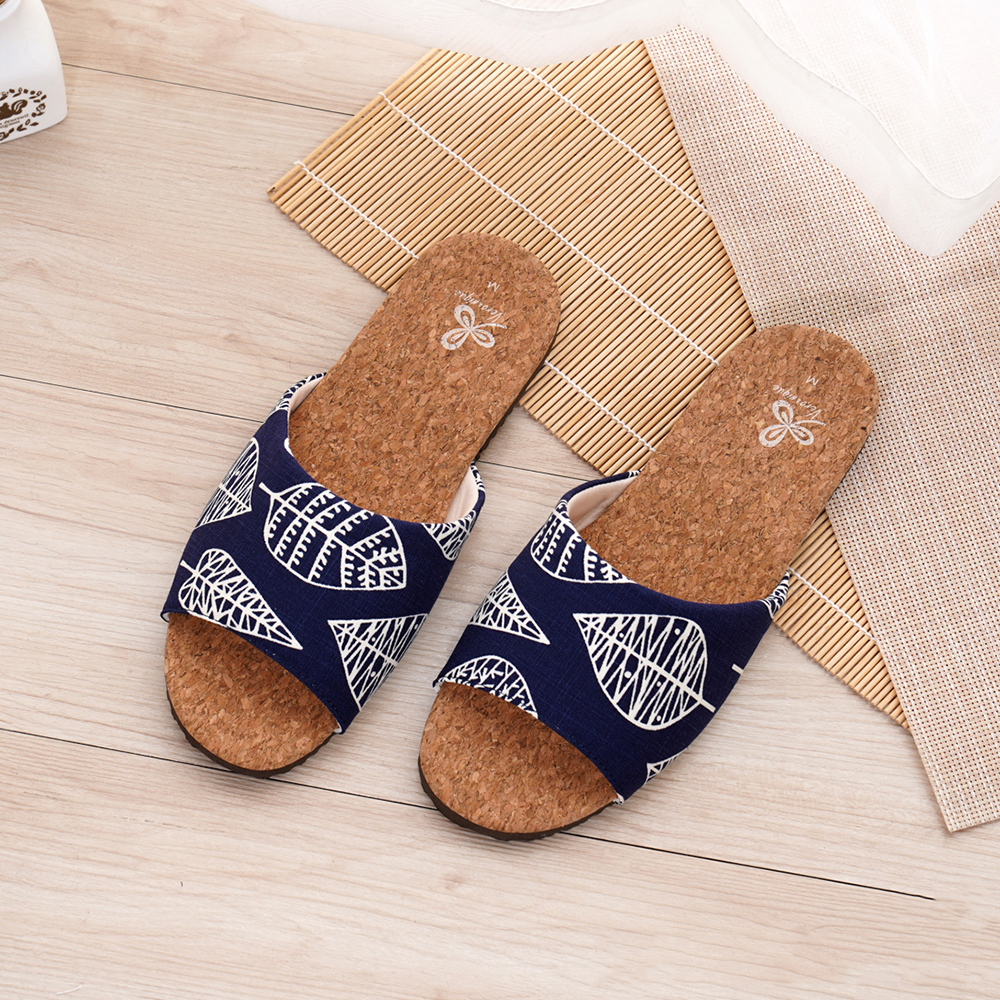 【維諾妮卡】好葉輕軟木室內拖鞋-藍