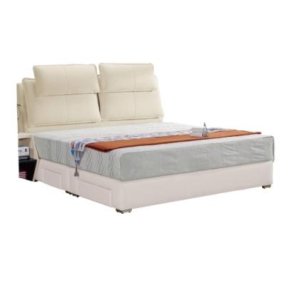 文創集 泰德5尺雙人抽屜床台(床頭片+皮革四抽床底+不含床墊)-154x213x124免組
