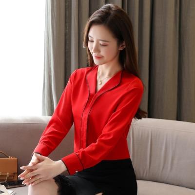 2F韓衣-韓系V領邊條造型雪紡上衣-新-2色(S-2XL)