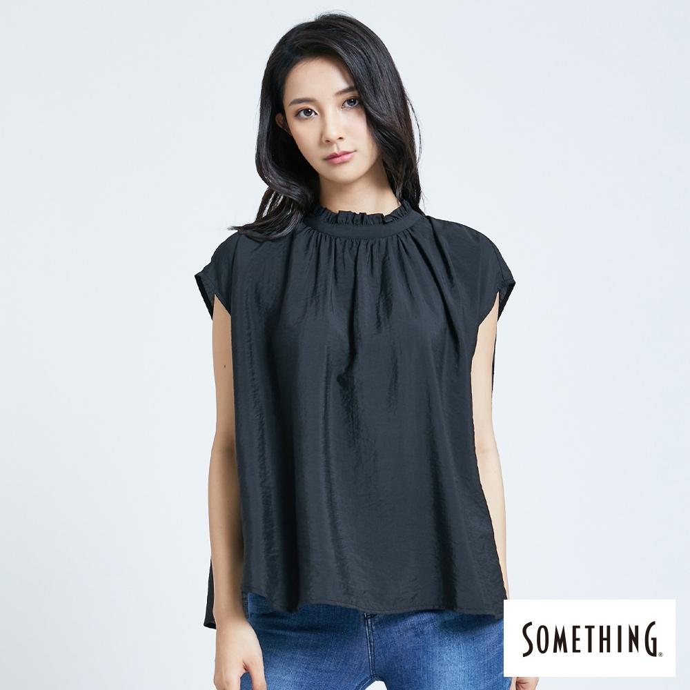 SOMETHING  領抽摺後綁帶 寬版背心式襯衫-女-黑色