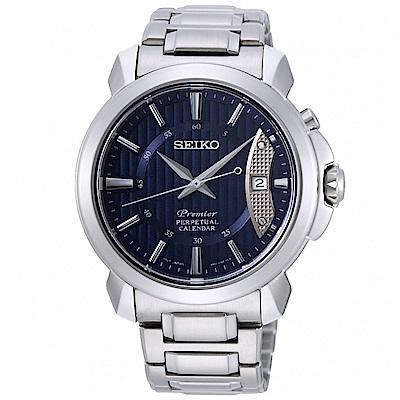 SEIKO 精工 Premier 萬年曆時尚手錶 SNQ157J1-藍X銀/41mm