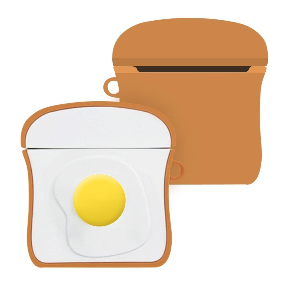 AirPods 1/2 代通用 藍牙耳機 保護套 雞蛋吐司 可愛造型 保護殼-雞蛋吐司*1