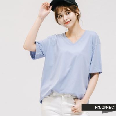 H:CONNECT 韓國品牌 女裝 -V領純色棉質T-shirt - 紫