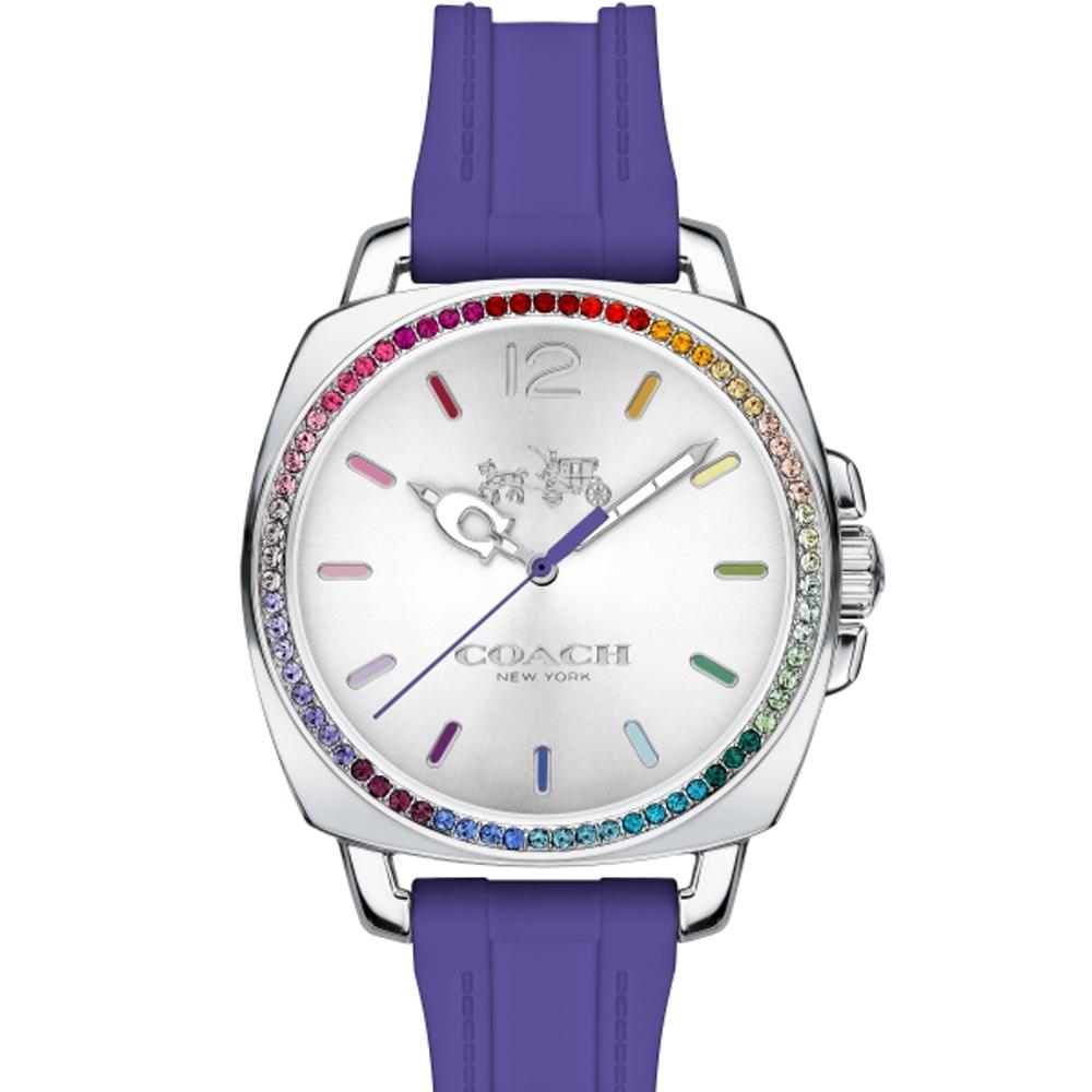 COACH 彩色水晶晶鑽橡膠錶帶/14502530