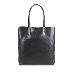 MARKBERG Antonella 丹麥手工牛皮個性長版托特包 購物包/手提包(極簡黑)