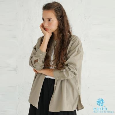 earth music 素面/格倫格紋有機棉長版寬鬆襯衫上衣