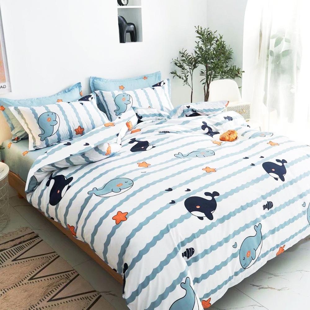 A-ONE 雪紡棉  雙人加大床包/枕套三件組- 睡覺鯨魚
