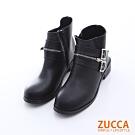 ZUCCA 皮革雙扣拉鍊低跟靴-黑色-z6514bk
